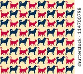 Stock vector seamless pattern cats and dogs can be used for textile website background book cover packaging 114700798