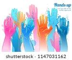 vector people raising reaching... | Shutterstock .eps vector #1147031162
