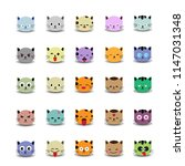 set of cute cat face with... | Shutterstock .eps vector #1147031348