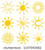 set of orange sun icons vector... | Shutterstock .eps vector #1147043582