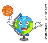 with basketball globe character ... | Shutterstock .eps vector #1147045895