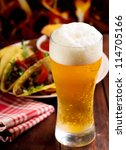 glass of beer and different... | Shutterstock . vector #114705166