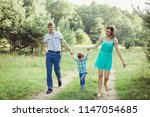 happy emotional positive family ... | Shutterstock . vector #1147054685