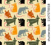 rats and mouse seamless pattern.... | Shutterstock .eps vector #1147070018