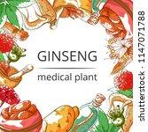 ginseng medical plant frame... | Shutterstock .eps vector #1147071788