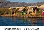 The floating and tourist  Islands of lake Titicaca Puno Peru South America