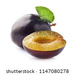 plums with leaf | Shutterstock . vector #1147080278