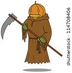 represent a death angel pumpkin ... | Shutterstock .eps vector #114708406
