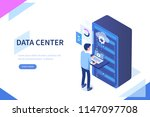 data center concept with... | Shutterstock .eps vector #1147097708