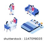 young couple characters are... | Shutterstock .eps vector #1147098035