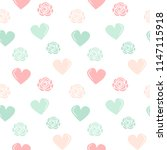 cute lovely hearts and roses... | Shutterstock .eps vector #1147115918