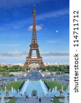 the eiffel tower and fountains... | Shutterstock . vector #114711712