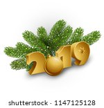 christmas green pine branches... | Shutterstock .eps vector #1147125128