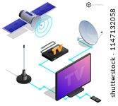 vector tv antenna  realistic... | Shutterstock .eps vector #1147132058