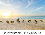 cancun beach at sunrise   playa ... | Shutterstock . vector #1147132235