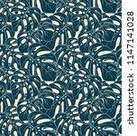 monstera plant exotic... | Shutterstock .eps vector #1147141028