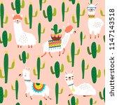 vector pattern with cute llamas ... | Shutterstock .eps vector #1147143518