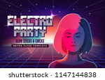 electro party music poster... | Shutterstock .eps vector #1147144838
