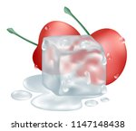 cherries and ice cube...   Shutterstock .eps vector #1147148438
