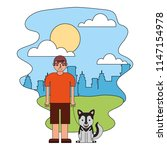 young boy with her siberian...   Shutterstock .eps vector #1147154978