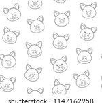 gray outline faces of piglets... | Shutterstock .eps vector #1147162958