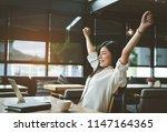 freelancer beautiful asian... | Shutterstock . vector #1147164365