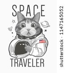 funny cat astronaut illustration | Shutterstock .eps vector #1147165052