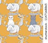 cat  pig and wolf seamless...   Shutterstock . vector #1147168865