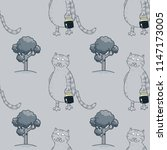 busy cat walking with milk jar...   Shutterstock . vector #1147173005