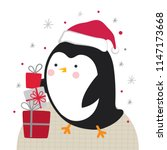 cute penguin with christmas gift | Shutterstock .eps vector #1147173668