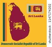 map outline and flag of sri... | Shutterstock .eps vector #1147174202