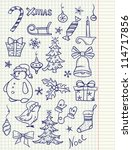 set of doodle christmas elements | Shutterstock .eps vector #114717856