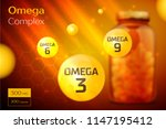 omega 3 6 9 complex template ... | Shutterstock .eps vector #1147195412