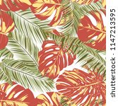 summer exotic floral tropical... | Shutterstock .eps vector #1147213595