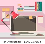 workspace in modern style  home ... | Shutterstock .eps vector #1147227035