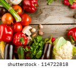 healthy organic vegetables on a ... | Shutterstock . vector #114722818