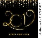 gold 2019 happy new year... | Shutterstock . vector #1147233392
