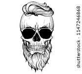 angry skull with hairstyle ... | Shutterstock .eps vector #1147246868