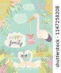 cartoon swans in love and stork ... | Shutterstock .eps vector #1147258208