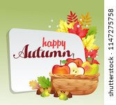 happy autumn with basket of... | Shutterstock .eps vector #1147275758