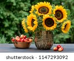 sunflowers in a floral... | Shutterstock . vector #1147293092