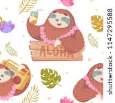 cute seamless pattern with... | Shutterstock .eps vector #1147295588