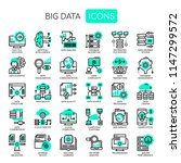 big data   thin line and pixel... | Shutterstock .eps vector #1147299572