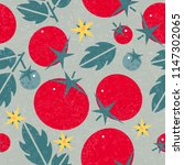 tomato seamless pattern. ripe... | Shutterstock .eps vector #1147302065