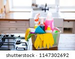 basket with cleaning items on...   Shutterstock . vector #1147302692