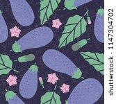 eggplant seamless pattern. ripe ... | Shutterstock .eps vector #1147304702