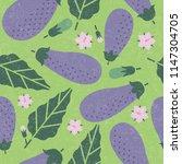 eggplant seamless pattern. ripe ... | Shutterstock .eps vector #1147304705