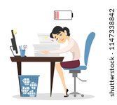 tired businesswoman at office... | Shutterstock . vector #1147338842
