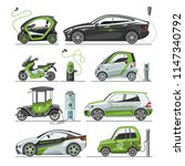 electric vector car with solar... | Shutterstock .eps vector #1147340792