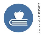 apple on book  knowledge icon...